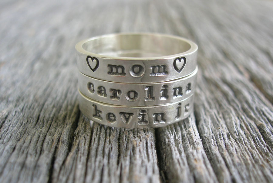 Skinny Stackable Ring Custom Name Ring Sterling Silver Personalized Hand Stamped Mothers Ring Posey