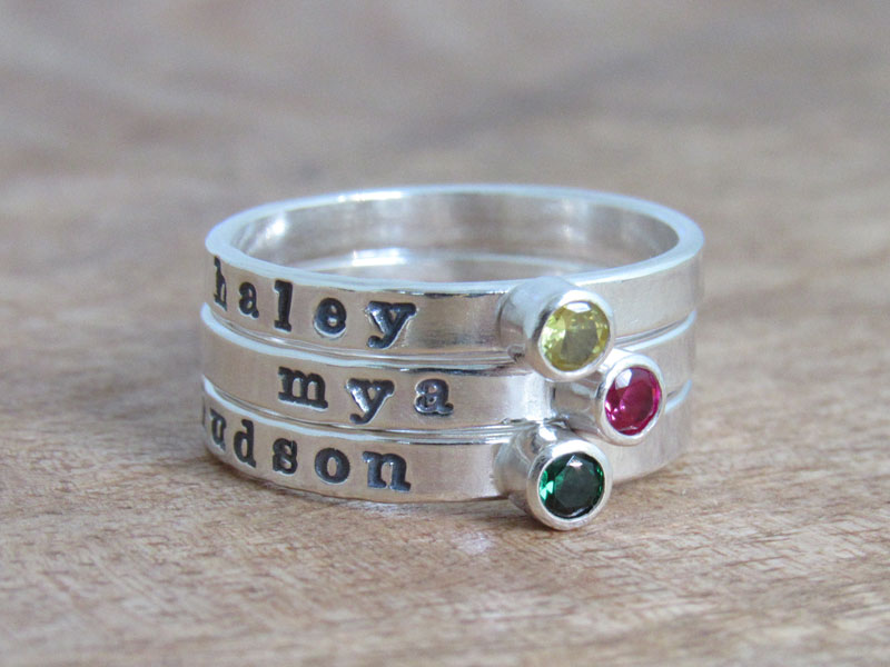 Birthstone Stacking Ring Name Ring Personalized Stackable Mommy Ring Gemstone