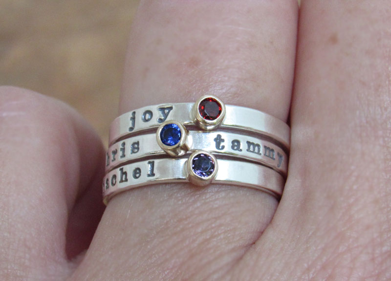 Birthstone 14k Gold and Sterling Silver Ring Personalized Stacking Ring Mommy Ring Hand Stamped Gemstone Ring