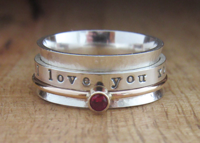 Spinner Ring Gold Birthstone Ring Personalized Ring Gold and Sterling Silver Jewelry