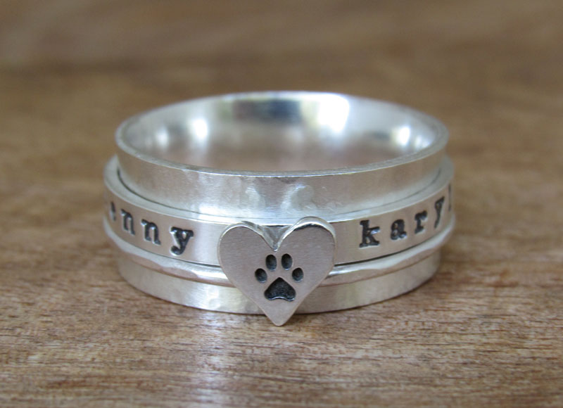 Paw Print Ring Spinner Ring Personalized Ring Sterling Silver Jewelry Ring Love my dog